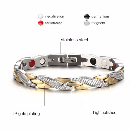 Vinterly Health Energy Magnetic Ion Germanium Bracelet Men Pulseras Hombre Chain Link Stainless Steel Bracelet Bangle Women Men