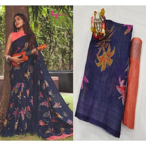 New 2021 Presenting Pure Lilan Flower Printed Beautiful Saree- Dark Blue