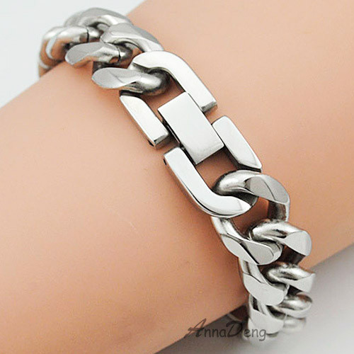 CHIMDOU 21cm 13mm Cool Fashion High Quality Stainless Steel Pop Punk Rock Style Round Chain Link Bracelet Men Jewelry AB713