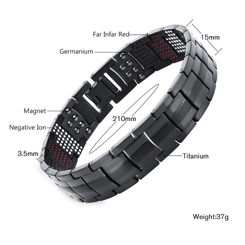 Vivari Magnetic Black Titanium Bracelet Men Bangle 4in1 -ve Ions Germanium Far Infra Red Fashion Bracelets jewelry Charm Wrist