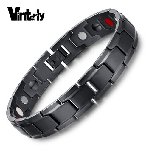 Vinterly Brand Design Fashion Health Energy Bracelet Bangle Men Black Jewelry Stainless Steel Bio Magnetic Bracelet For Man