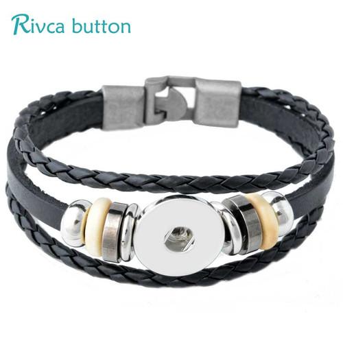Rivca Snap Button Jewelry Leather Bracelets For Women Fit 18mm Snap Button Bracelet Men Casual Vintage Punk Bracelet P00734