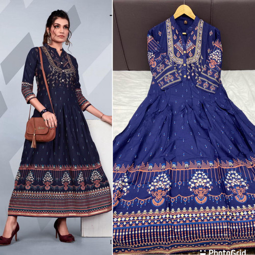New 2021 Presenting Rayon Foil print Gown -Dark Blue( Size-XXL)