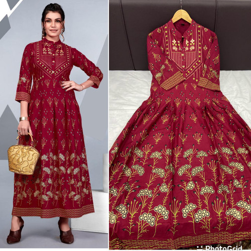 New 2021 Presenting Rayon Foil print Gown -Maroon ( Size-M)