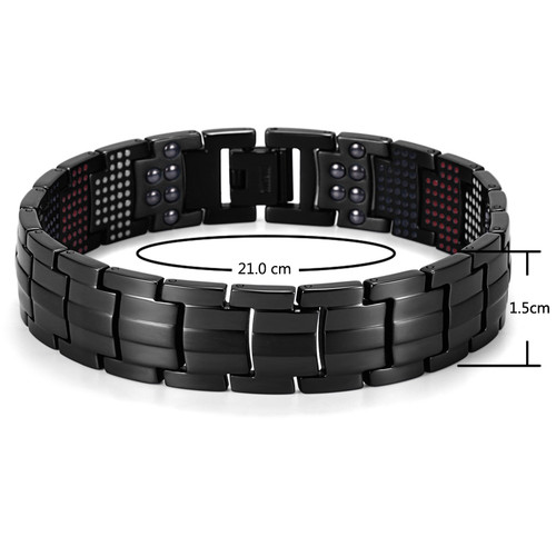 "Rainso Unique Mens Health Bracelet Multi Row 4 Elements Therapy Bracelet  Charm Black Titanium Bangles 8""  OTB-1537BK-1"