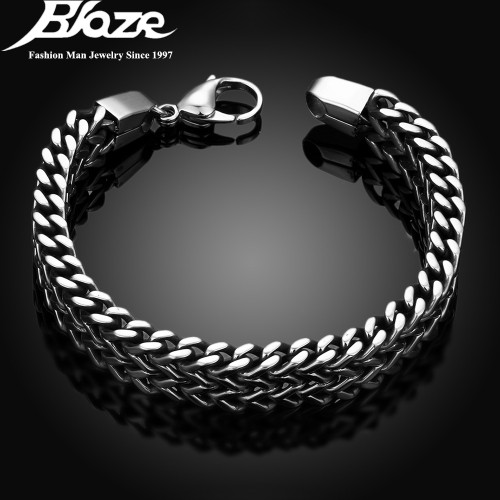 2017 mens bracelets & Bangles 5*12mm 316L Stainless Steel Wrist Band Hand Chain Jewelry Gift pulseira