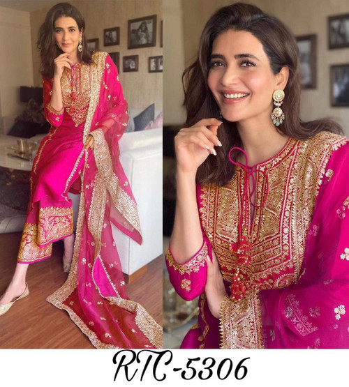 Presenting New 2021 Top Palazzo And Dupatta embroidery and Sequence with four side lace Work -Dress-Pink