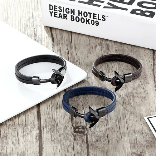 MKENDN FASHION Man Vintage Leather Bracelet Stainless Steel Wristband Anchor Bracelet Punk Rock Men Jewelry Accessories Pulseras