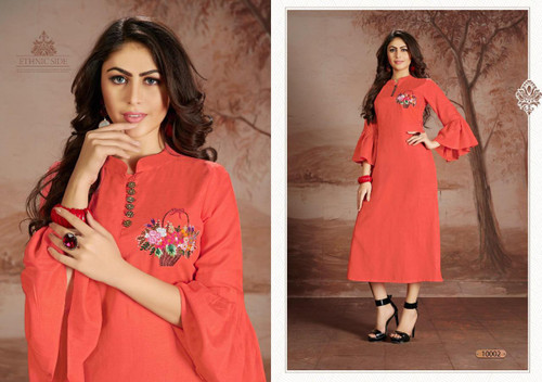 Presenting New 2021 Designer Heavy Embroidery Work Long Gown-Light Red-XL