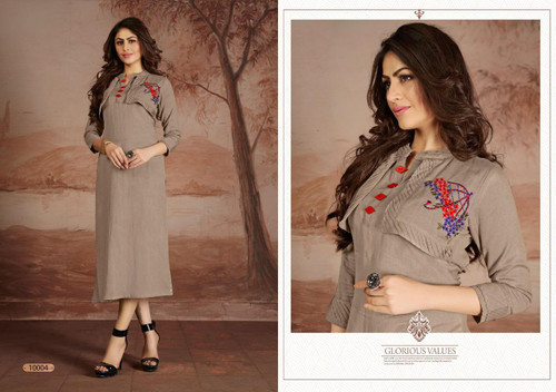 Presenting New 2021 Designer Heavy Embroidery Work Long Gown-Gray-M