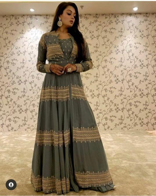 Presenting New 2021 Designer Georgette With Heavy Embroidery Work With Full Sleev-Choli-Gray (Size-XL)