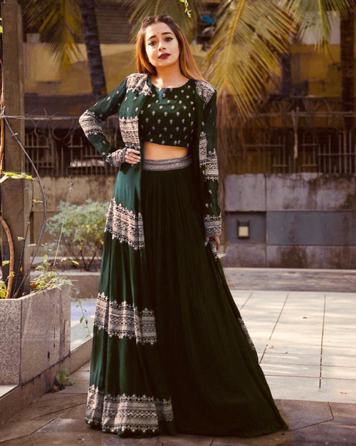 Presenting New 2021 Designer Georgette With Heavy Embroidery Work With Full Sleev-Choli-Green (Size-XL)