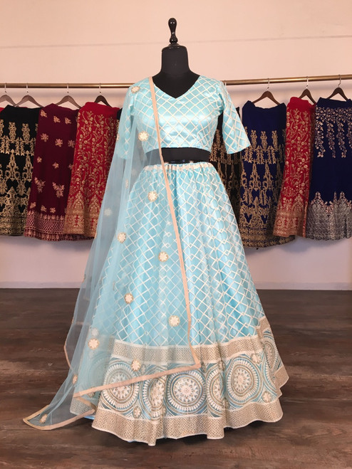 New 2021 Presenting Beautiful Designer Lucknowi Lehnga Choli-Sky Blue-Size-42