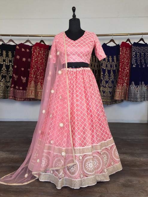 New 2021 Presenting Beautiful Designer Lucknowi Lehnga Choli-Light Pink-Size-42