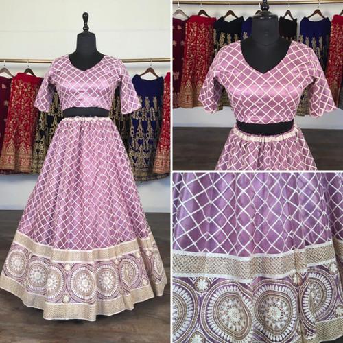 New 2021 Presenting Beautiful Designer Lucknowi Lehnga Choli-Light Purple-Size-42
