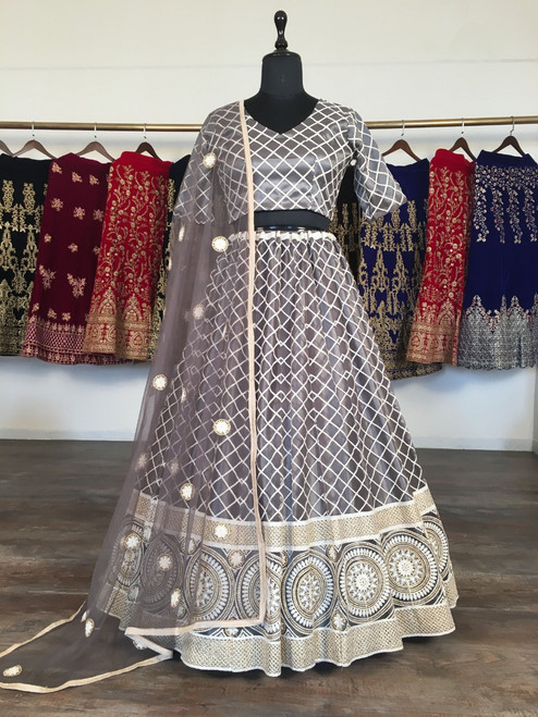 New 2021 Presenting Beautiful Designer Lucknowi Lehnga Choli-Gray-Size-42