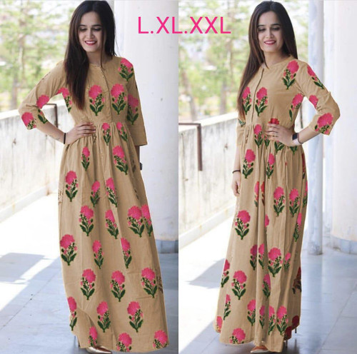 New 2021 Presenting Beautiful heavy Flower camric cotton Printed Kurti-light Brown-Size-L
