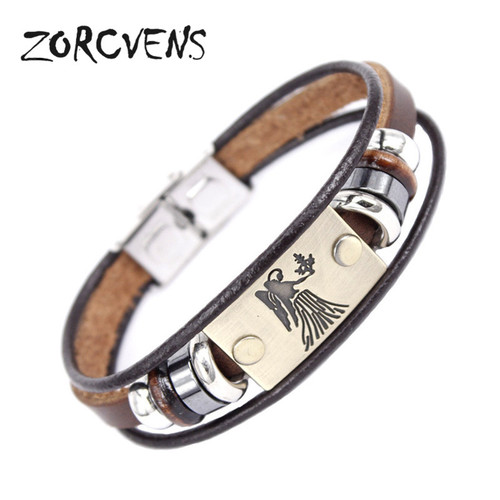 ZORCVENS 2017 New Fashion 12 Constellation Signs Bracelets Bangles Stainless Steel Leather Bracelet for Men