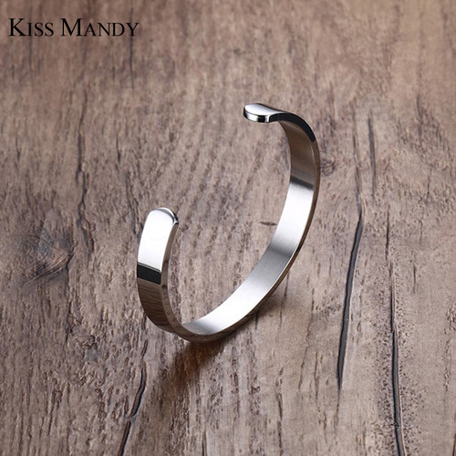 KISS MANDY 8mm Width Surface Men and Women Bracelet & Bangle Stainless Steel Bracelet Men Silver/ Gold / Black 3 Color KB301