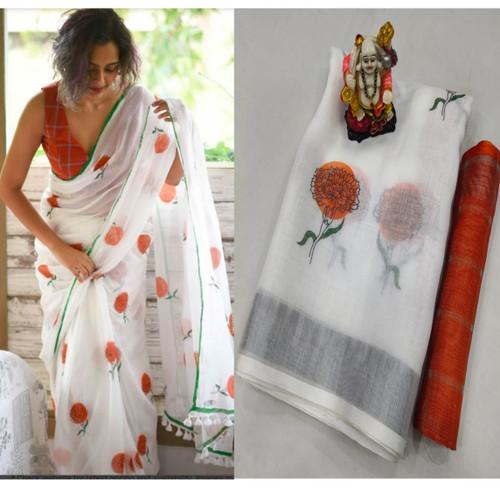 New 2021 Beautiful Designer Pure Lilian Slab Cotton Saree- White (Orange Flower Designer )