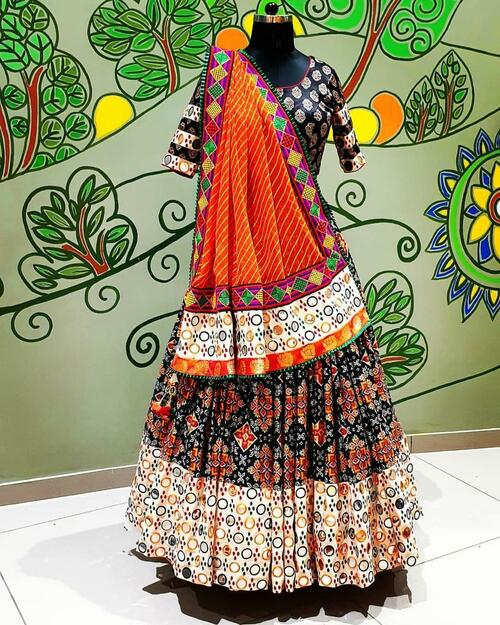 New 2021 Presenting Beautiful Designer Printed work Festival Lahenga Choli