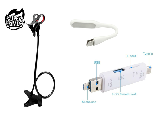 360 Rotating Flexible Phone Holder + 3 in 1 Smart OTG + USB LED Light Lamp Combo