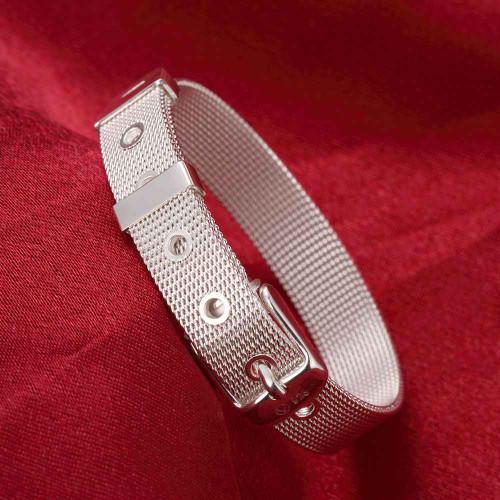 Free Shipping Wholesale fashion jewelry silver color bracelet,silver plated bracelet  10mm Mesh men bracelet Wholesale
