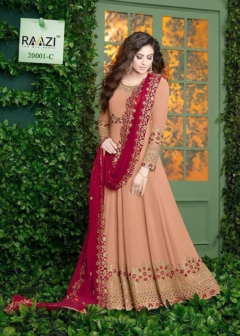 New 2021 Presenting Beautiful Designer suit Georgette with Embroidery work +Stone Work-Light Pink-Size-46