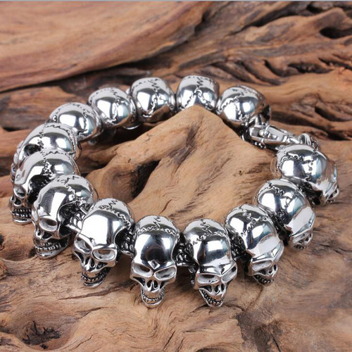 TrustyLan Punk Rock Skull Bracelet Men Stainless Steel Skeleton Men's Bracelets & Bangles Male Jewelry Accessory Gift Wristband