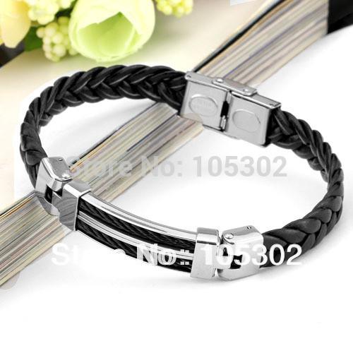 Wholesale Wide Weave Chain Bracelet Men Jewelry 21cm 304 Stainless Steel Men Leather Bracelet Gifts For Boys (JewelOra BA100617)
