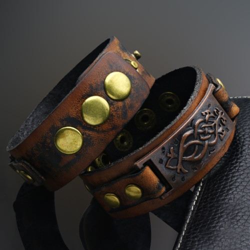 Bracelet Mens Punk Unisex Wide Rivet Leather Genuine Womens Wrap Bracelet Bangle homme Retro Khaki Color 2016 Fashion Jewelry