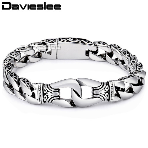 Davieslee Mens Bracelet Chain Curved Edge 316L Stainless Steel Silver Tone Vintage Curb Cuban Link Wholesale Jewelry 15mm LHB10