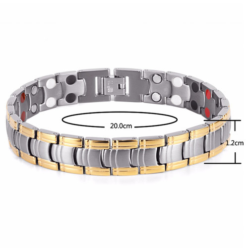 Rainso Men Jewelry Bio Energy Gold color Magnetic Health Bracelet Men Bracelets & Bangles Stainless Steel Bracelets For Women