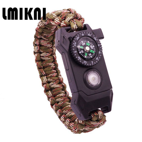 LMIKNI Braided Rope Paracord Survival LED Bracelet For Men Multifunctional SOS Outdoor Camping Men Bracelet