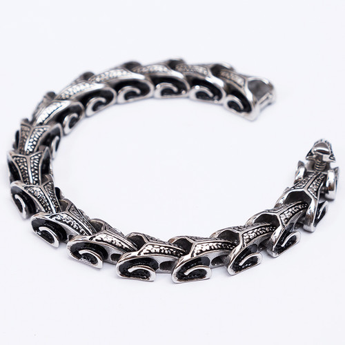 TrustyLan Cool Stainless Steel Dragon Grain Bracelets Men New Arrival Punk Rock Keel Mens Bracelets & Bangles For Man Jewelry