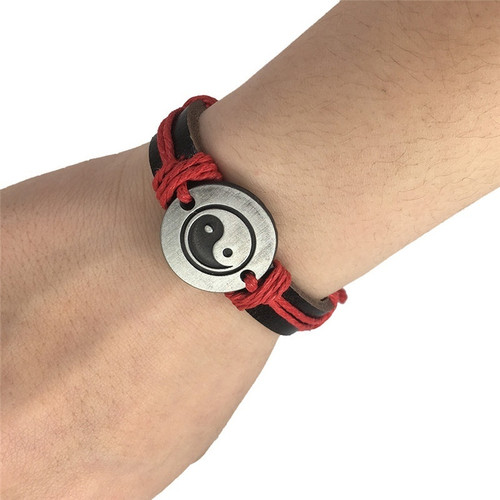 Trendy Jewelry Unisex Retro Style Tai Chi Ying Yang Alloy Shape Braid String Charm Bracelet Chain @M8694