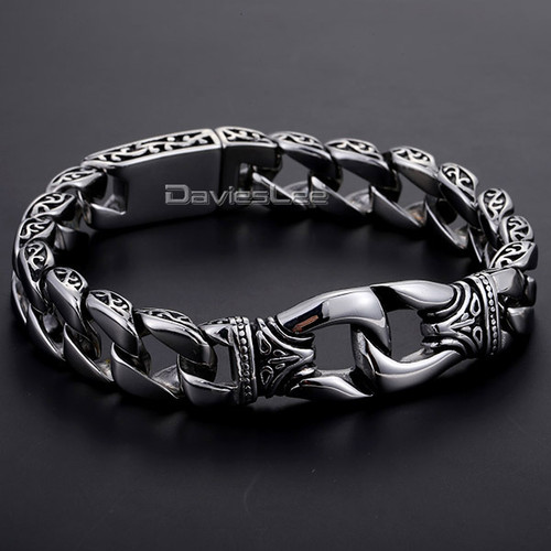 Davieslee Mens Bracelet 316L Stainless Steel Bracelet Silver Color Curved Curb Link Chain Wholesale Jewelry 15mm HB10