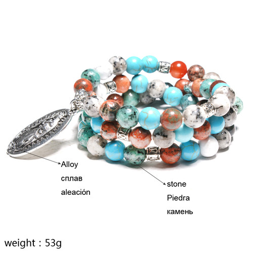 MOON GIRL Virgin Mary Multilayer Yoga Mala Stone Beads Women Wrist Bracelets Meditation Chakra Men's Bracelets Drop Shipping