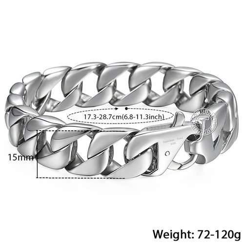 Trendsmax 14mm 316L Stainless Steel Mens Bracelet Silver Color Round Curb Cuban Chain Wholesale Jewelry HB164