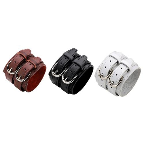 Friendship Big Wide Bracel Double Belt Leather Vintage Big Wide Bracelet for Men Buckle Punk Jewelry