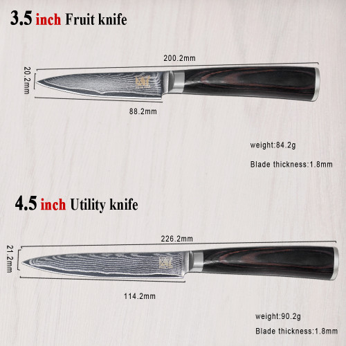 New Brand VG10 Damascus Steel Knife 8 Pcs Set Color Wood Handle Japanese Steel Kitchen Knife Hot Sale Professional Knives Set