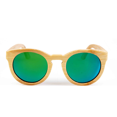 BerWer round design bamboo sunglasses with color lens and sunglasses bag and cloth