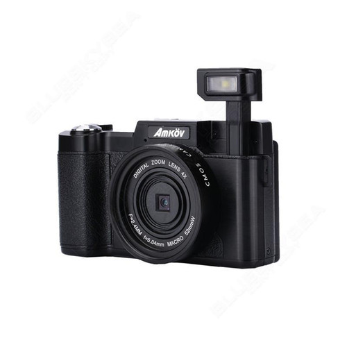 "AMKOV AMK-R2 3.0"" 24MP HD 1080P Portable Digital Cameras Rotatable Video Camcorder  DSLR Cameras Black+Lens"