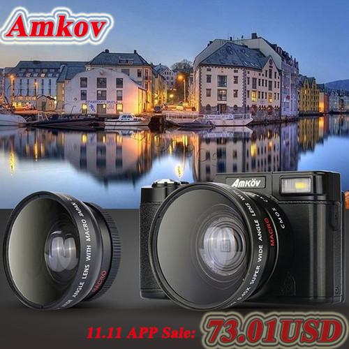 AMKOV CDR2 Digital Cameras professional Cameras HD Camcorders DSLR Cameras Wide Angle Telephoto Lens Camara Digital