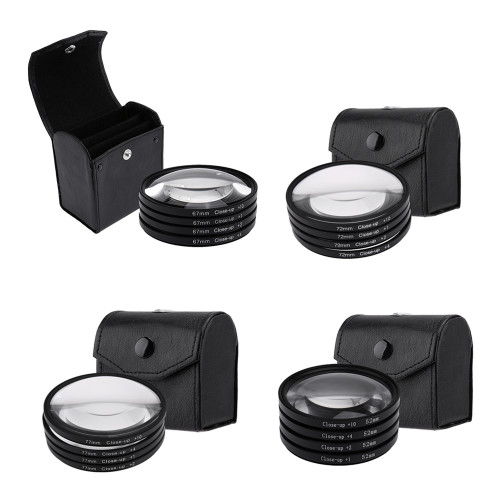 52mm 67mm 72mm 77mm Macro Close-Up Filter Set +1 +2 +4 +10 Lens with Pouch Macro Lens Filter Kit for Canon DSLR Camera