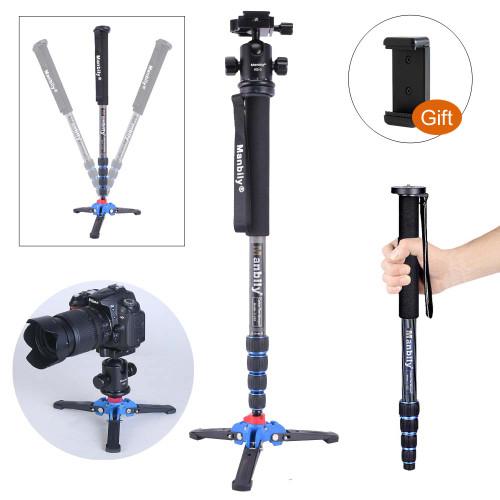 """Manbily C-222 Carbon fiber Portable Professional DSLR Camera Monopod & M1 Tripod Base & KB-0 Aluminum Tripod Ball Head Max:65"""""""