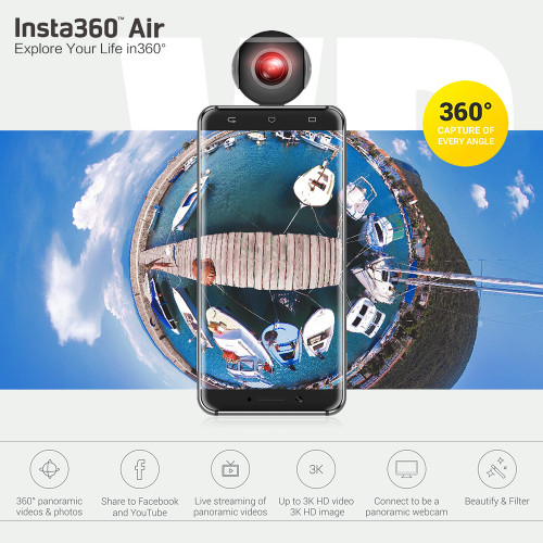 Insta360 Air Panoramic 360 Camera 3K HD Mini Camera Dual Wide Lens VR 360 Video Camera for OPPO/Huawei/LG Andriod Smartphones