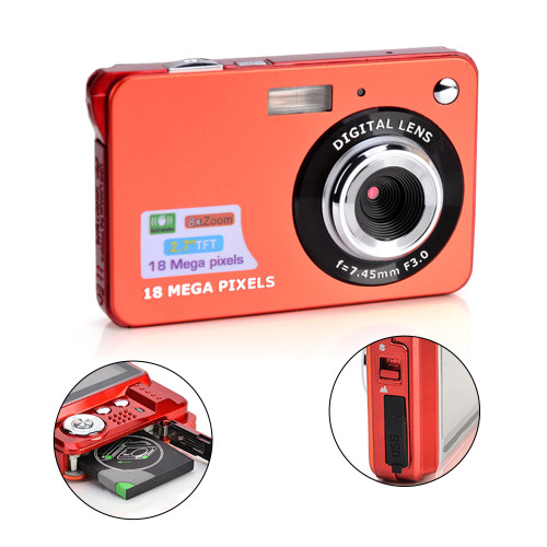 C3 Ultra-thin Card Digital Camera 18 Mega Pixels 2.7 Inch TFT LCD Screen CMOS Children Kids Gift Camcorder Sports Mini Camera