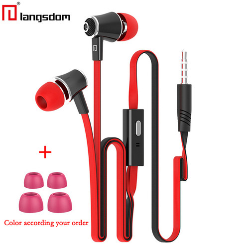 50pcs/lot Wholesale Langsdom JM21 stereo earphones with Microphone Super Bass 3.5mm Earphone For iphone 6s xiaomi mobile phones