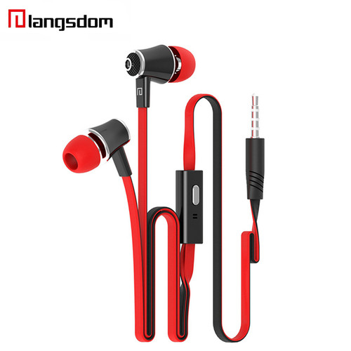 Wholesale 5pcs/lot Langsdom JM21 Earphone Stereo HIFI Super Bass Earbuds Noodles In-ear Earphone With Microphone For Samsung